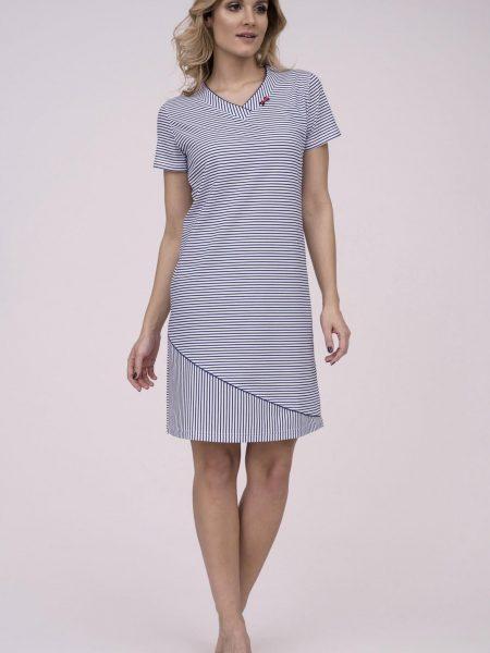 Dámska nočná košeľa Cana 786. Dámska nočná bavlnená košeľa Cana 786 je určená pre obdobie jar-leto kolekcia 2018. V bielo-modrej farbe a námorníckom motíve, vytvára z tejto nočnej košieľky modernú, pohodlnú, luxusnú a zároveň cenovo veľmi prístupnú dámsku nočnú košieľku. Táto košieľka je vyrobená z veľmi kvalitného a príjemného materiálu. Materiálové zloženie: 100% bavlna. Dostupné veľkosti: S, M, L, XL a taktiež XXL. Tabuľka veľkosti viď. nižšie v popise. Vyrobené v EÚ