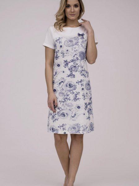 Dámska nočná košeľa Cana 788. Dámska nočná bavlnená košeľa Cana 788 je určená pre obdobie jar-leto kolekcia 2018. V bielom farebnom prevedení s jemným modrým kvetinovým motívom, vytvára z tejto košieľky modernú, pohodlnú, luxusnú a zároveň cenovo veľmi prístupnú dámsku nočnú košieľku. Táto košieľka je vyrobená z veľmi kvalitného a príjemného materiálu. Materiálové zloženie: 100% bavlna. Dostupné veľkosti: S, M, L, XL a taktiež XXL. Tabuľka veľkosti viď. nižšie v popise. Vyrobené v EÚ