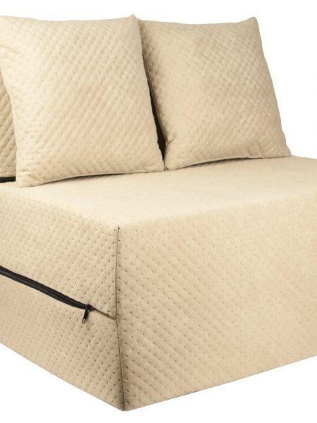 Rozkladací gauč a posteľ v jednom béžová farba. Sedadlo sa rýchlo rozloží až do dĺžky cca 2 m, výhodná alternatíva k posteli. Materiál: Penové matrace spolu s dvoma vankúšmi zadarmo! Rozmery: 200 cm x 70 cm x 15 cm
