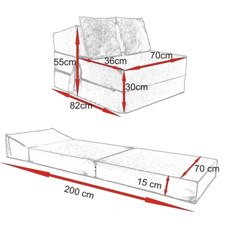Rozkladací gauč a posteľ v jednom rozmery