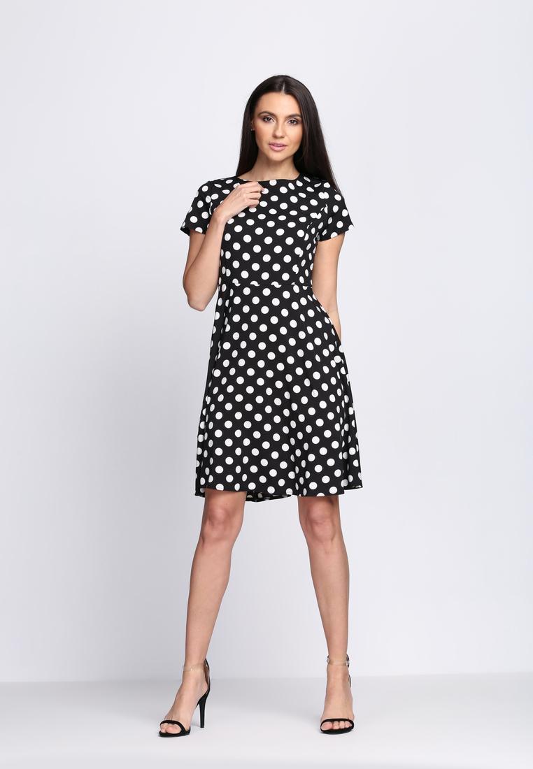 35582b16708fe Čierne bodkované šaty Avery, dostupné v 4 veľkostiach Veľkosť šiat : S/M,