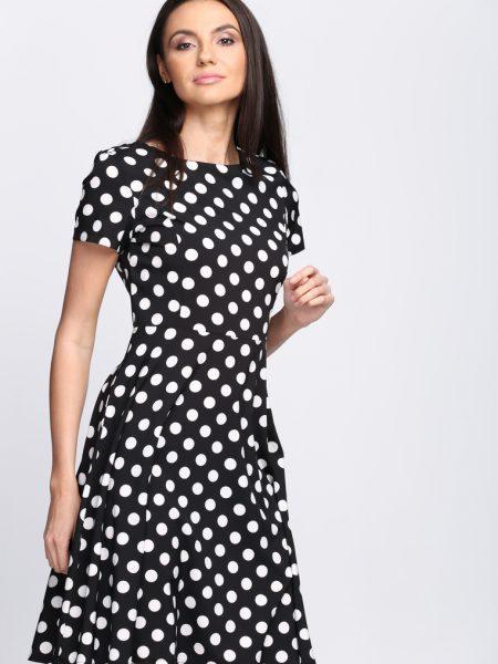 e63ffcef9852 Čierne bodkované šaty Avery