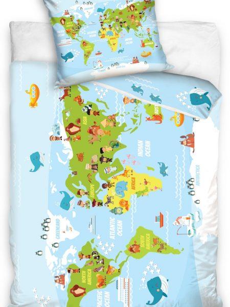 Posteľná obliečka bavlna mapa sveta 100% bavlna obsahuje: 1 x posteľná obliečka : 140 x 200 +/- 4% 1 x obliečka na vankúš : 70 x 80 cm+/- 2% (tieto návliečky sú vhodné aj na vankúše 70x90 cm) Označenie produktu: Jarka 12042 - materiál: 100% bavlna - najvyššia kvalita použitého materiálu - trvanlivé a živé farby - hrubý a pevný materiál - posteľná bielizeň neochladzuje a nestráca farby aj po mnohých praniach - moderný a elegantný dizajn - Vyrobené v EÚ