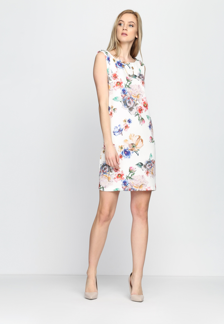 64ac498885bb4 Dámske kvietočkované šaty biele Lillian, dostupné v piatich veľkostiach  36,38,40,