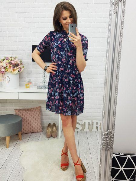 de44961c905dd Modré kvietočkované šaty Wendy Navy, v univerzálnej veľkosti. UNI: dĺžka :  88 cm