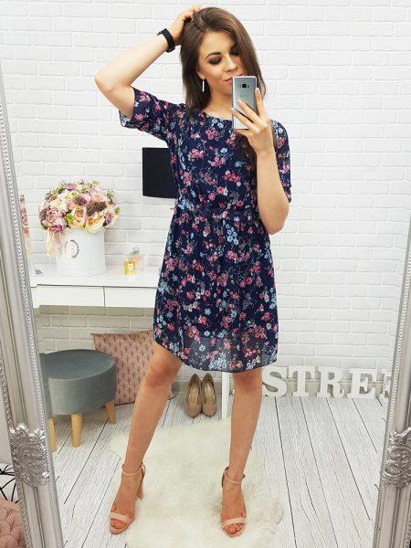 8cd1df3e30575 Modré kvietočkované šaty Boo Navy, v univerzálnej veľkosti. UNI: dĺžka : 88  cm