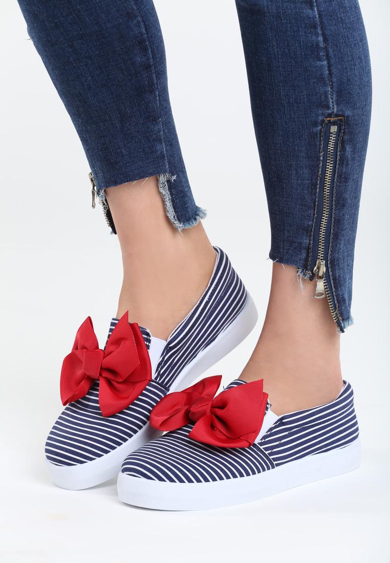 Dámske mokasíny v modrej farbe s červenou mašľou Claire Veľkosť   36 8d53b5d2566