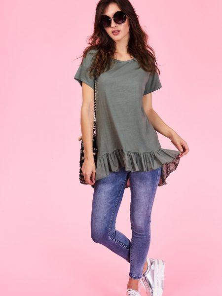 Dámske tričko Haven Veľkosť UNI-verzálna Vyrobené z príjemného materiálu. Pohodlné tričko, Farebné prevedenia : khaki, Kód : Jarka 0512903