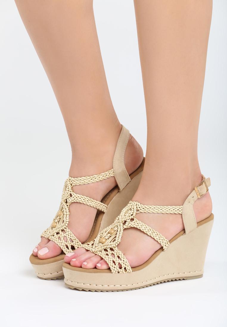 df7db191e9b5 Dámske sandále na platforme béžové Naomi Veľkosť   36