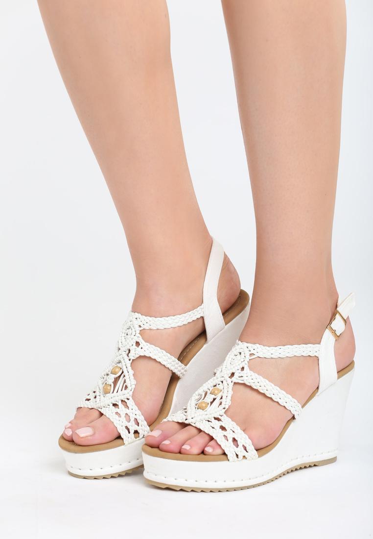 2c01feb763c3 Dámske sandále na platforme biele Naomi Veľkosť   36