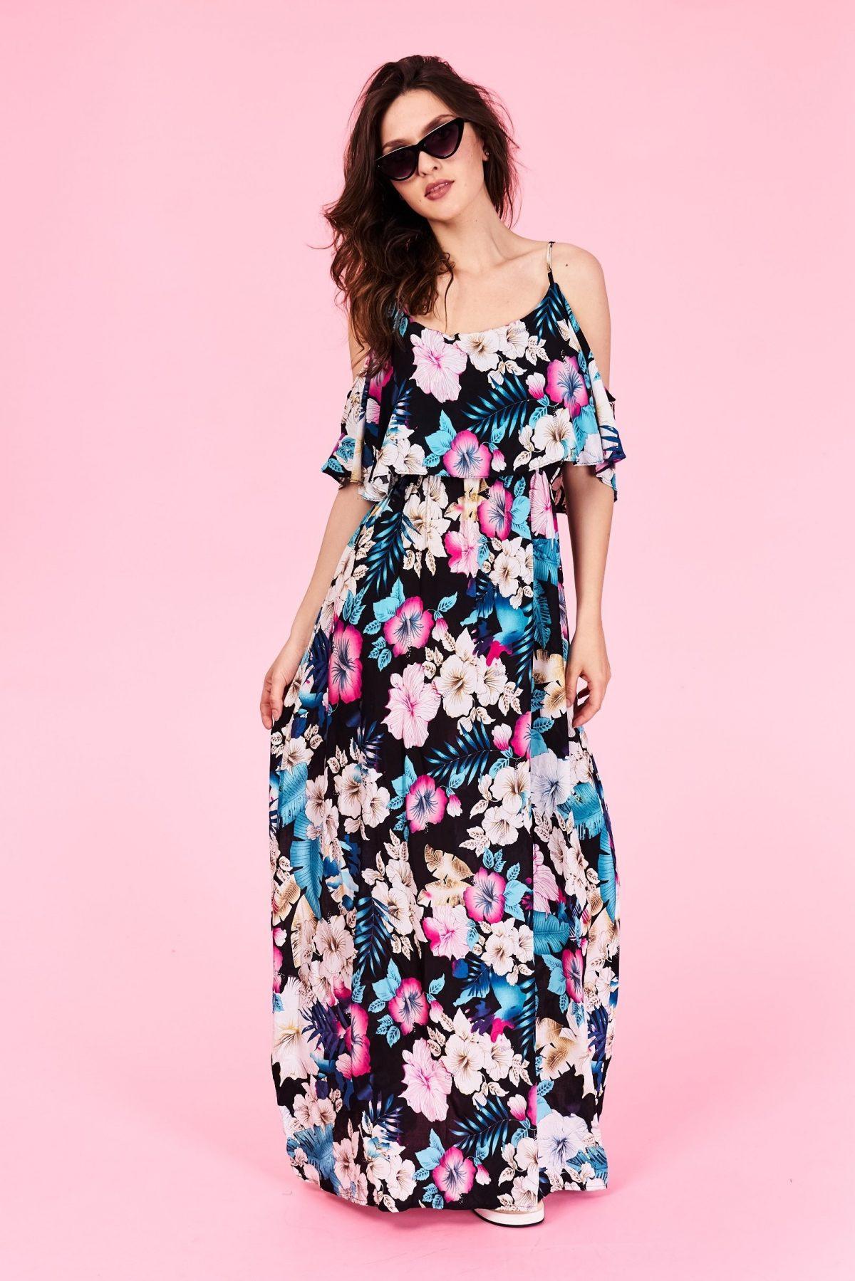 Dlhé letné šaty Londyn Veľkosť : S/M a L/XL Vyrobené z príjemného materiálu. Letné pohodlné šaty Farebné prevedenia : modré Kód : Jarka 0512473