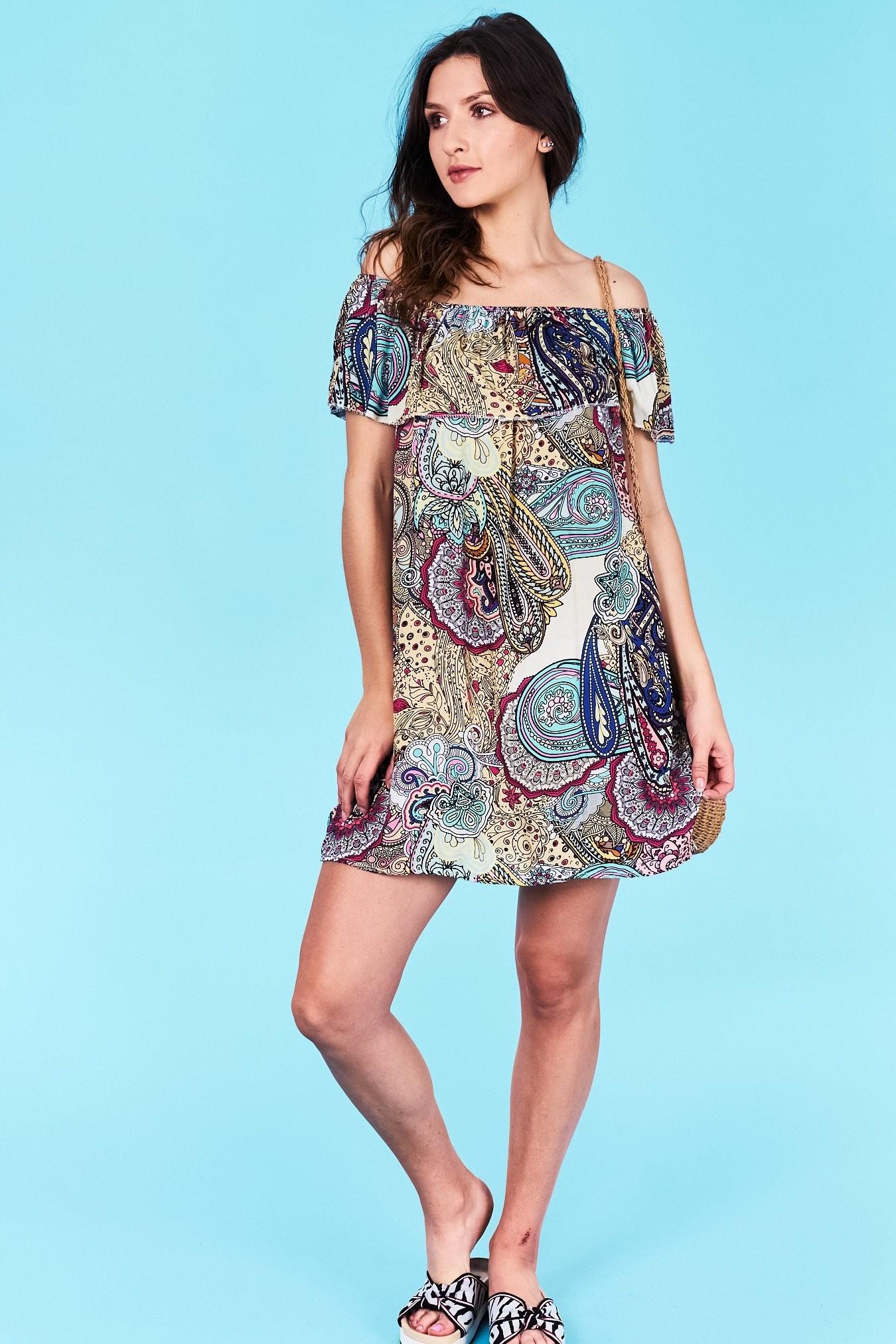Dámske letné šaty béžová Adalyn Veľkosť UNI-verzálna Vyrobené z príjemného  materiálu. Pohodlné šaty 01c58aff378