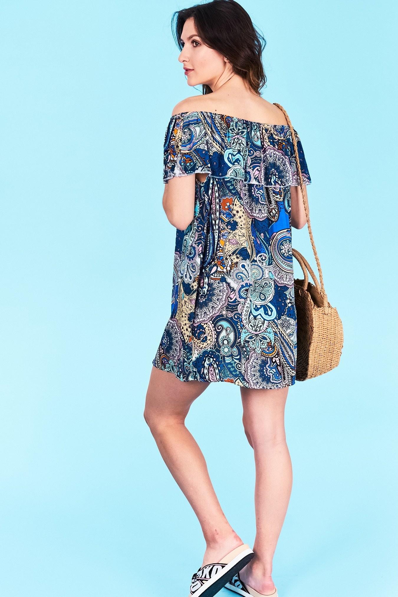 7bce99ab2e69 Dámske letné šaty modráá Adalyn Veľkosť UNI-verzálna Vyrobené z príjemného  materiálu. Pohodlné šaty