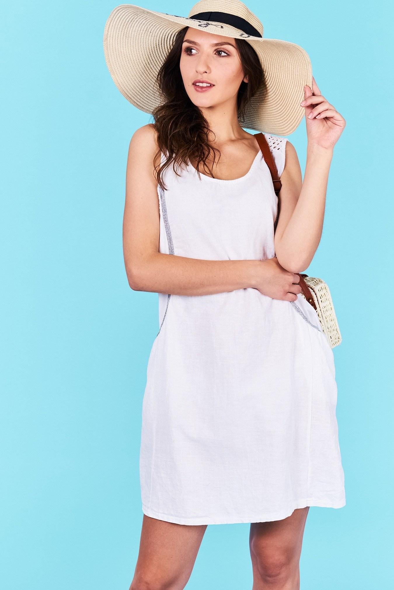 Dámske letné šaty biele Khloe Veľkosť UNI-verzálna Vyrobené z príjemného  materiálu. Pohodlné šaty dd818cbd643