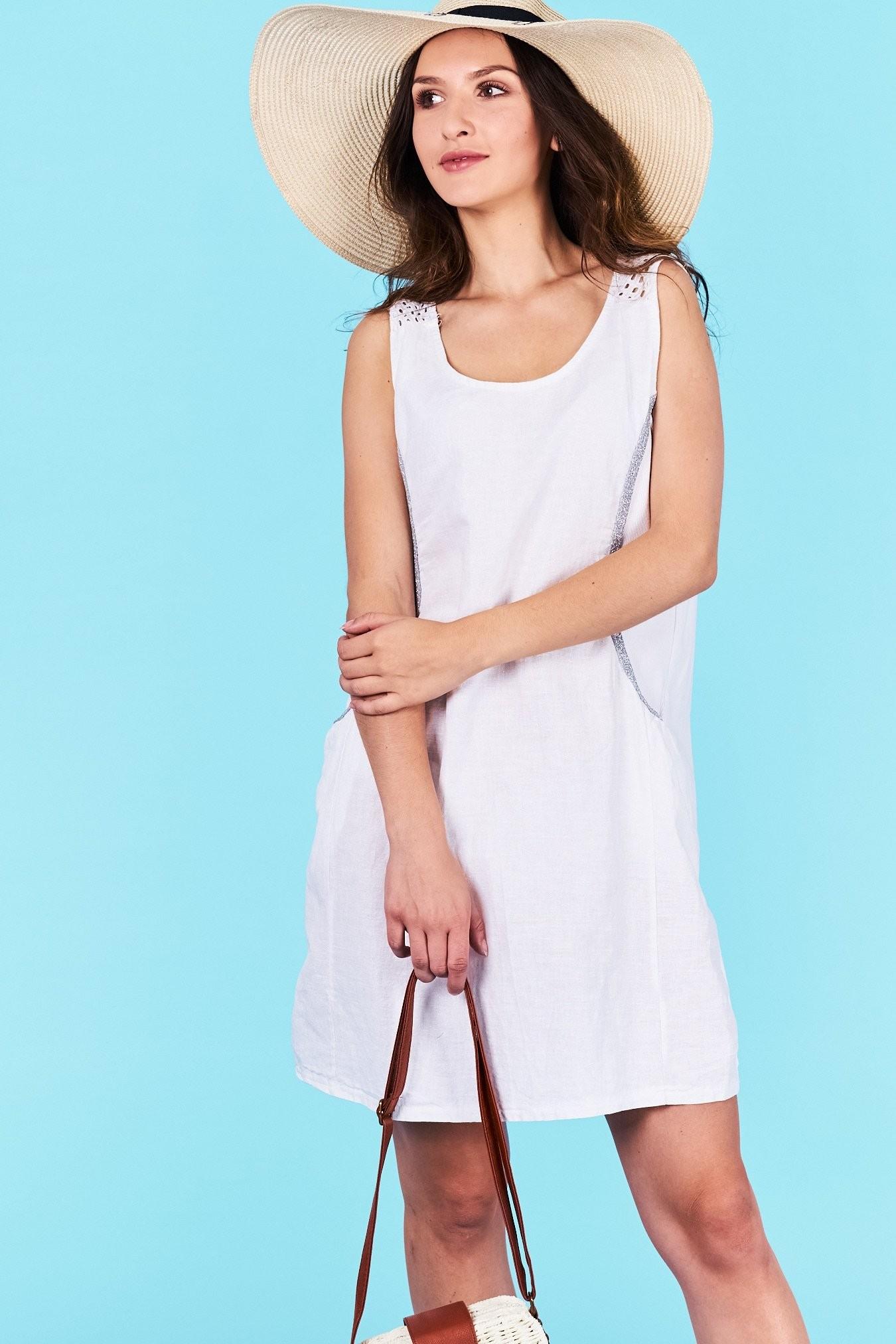 Dámske letné šaty biele Khloe Veľkosť UNI-verzálna Vyrobené z príjemného  materiálu. Pohodlné šaty 336c153c807