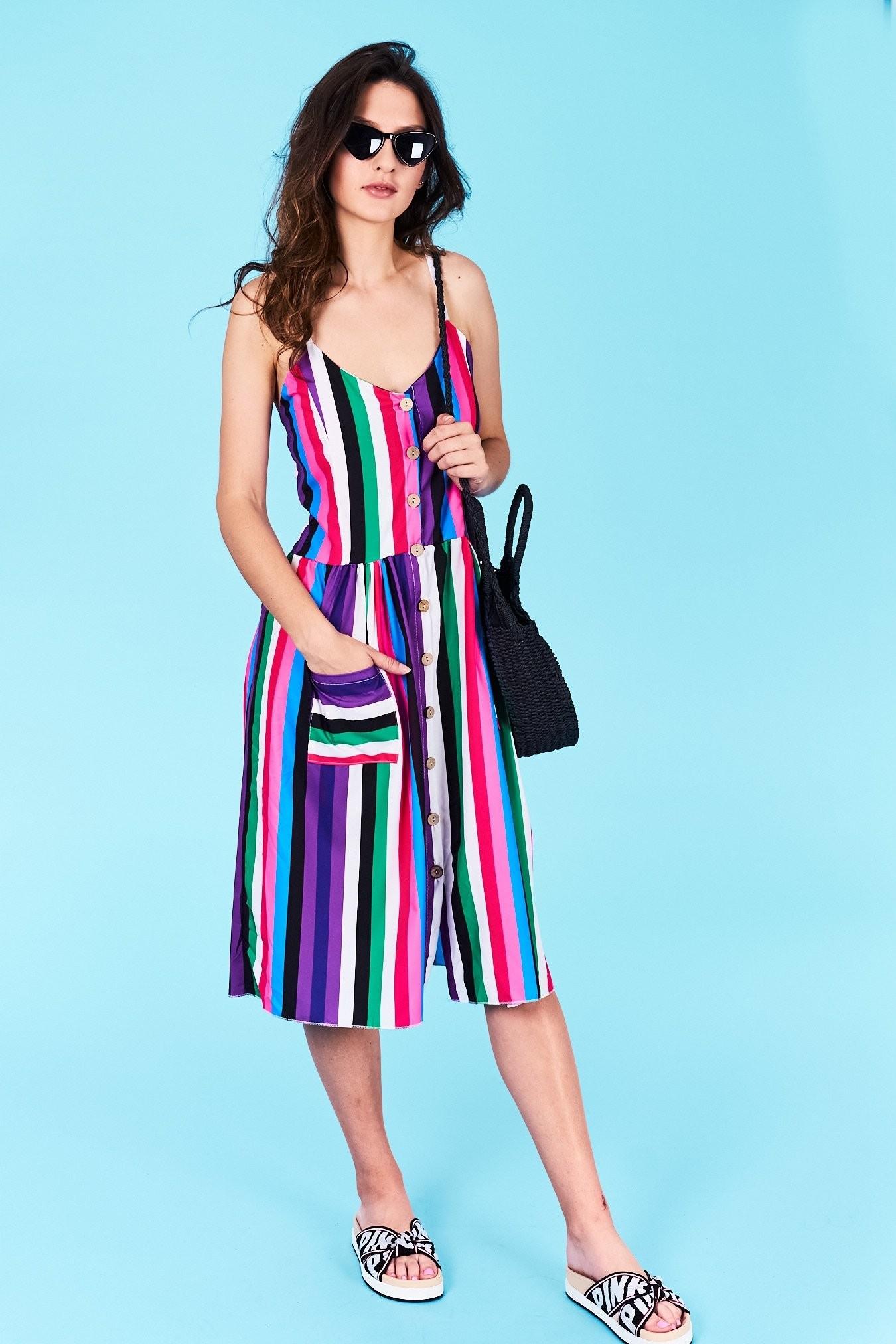 d940e519ed46 Dámske pruhované šaty fialová Arya Veľkosť UNI-verzálna Materiál  95%  bavlna 5%