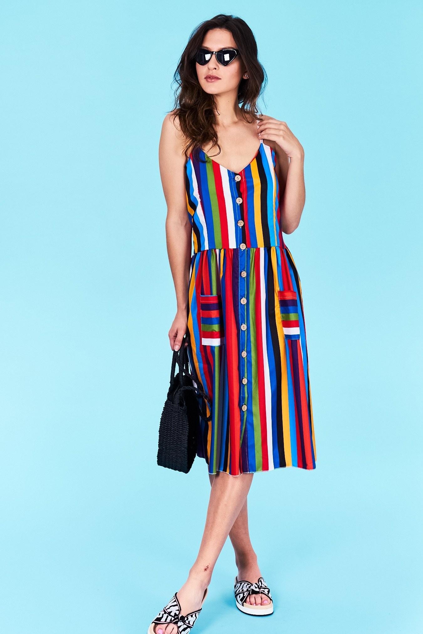 900a4a912ebe Dámske pruhované šaty modré Arya Veľkosť UNI-verzálna Vyrobené z príjemného  materiálu. Pohodlné šaty