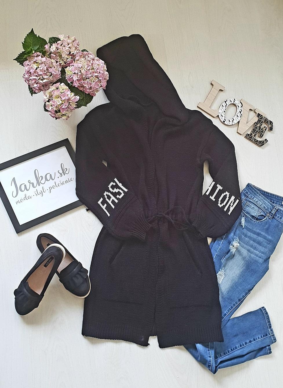 Pletený kardigan čierny dlhšieho strihu Fashion s kapucňou 68132a2a02