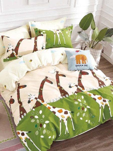 Posteľná obliečka bavlnený satén Žirafa