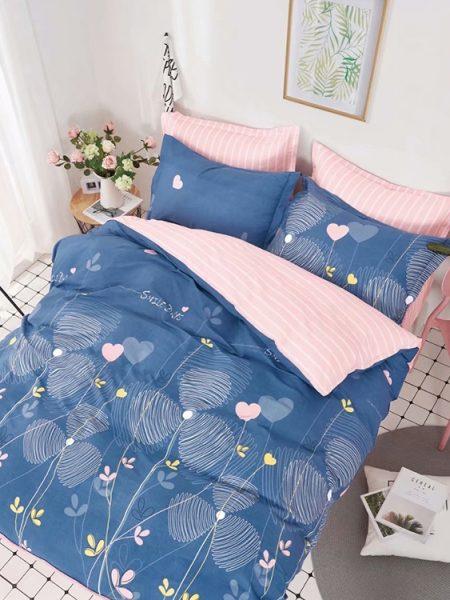 Posteľná obliečka bavlnený satén modro-ružová Johanna. Dostupná vo veľkostiach 140x200 cm alebo 160x200cm.