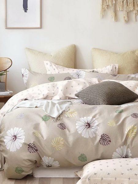 Posteľná obliečka bavlnený satén béžová Aisha, nádherná posteľná obliečka. Dostupná vo veľkostiach 140x200 cm alebo 160x200cm.