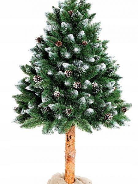 Umelý vianočný stromček borovica strieborná a šiška na pníku. Moderný vianočný stromček, predáva sa vo veľkostiach 160, 180 a 220 cm.